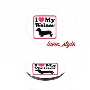 I LOVE ❤️ MY WEINER 🐶 Popsocket Phone Dachshund